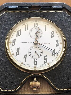 Tiffany & Co. Vintage / Antique 8 Day Travel Clock Leather Case
