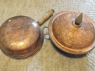 Vintage middle eastern copper embossed lid and pans Decorative