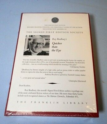Sealed!   Franklin Library Signed 1St Ed - Quicker Than The Eye By Ray Bradbury