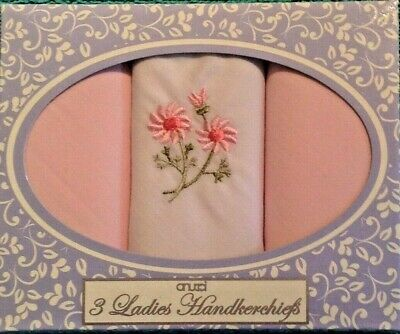 New Ladies 3 Multi-Pack Boxed Cotton Handkerchiefs Floral Embroidery Hankies