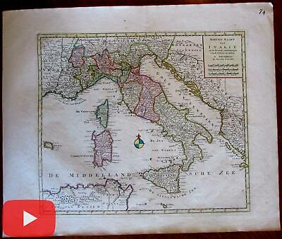 Italy Italia c.1770 Isaak Tirion rare folio sheet antique map not in Borri