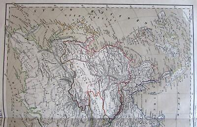 1875 Asia Continent lithographed outline hand color old mp