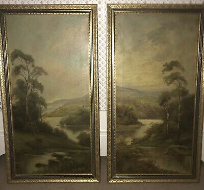 Pair of Early 20th Century Antique Oil Paintings By J . Tucker - !?James Walker
