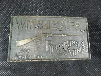 Vintage Brass Winchester Repeating Arms New Haven Conn Belt Buckle