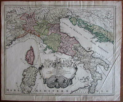 Italy engraved hand color old map