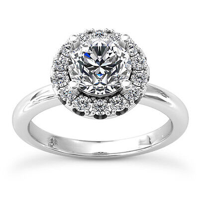 Solitaire Halo .80 Ct G/vs Round Cut Diamond Engagement Ring 14K White Gold