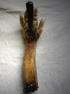 HORROR PROPS STABBED ARM Halloween Movie Fx DEAD ZOMBIE Body Parts Knife HAND