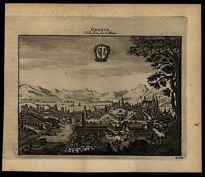 Geneva Switzerland birds-eye city view c.1680-1700 charming miniature print