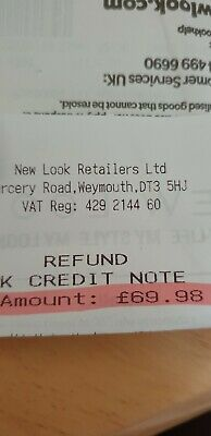 £69.98 new look credit note / voucher / gift card