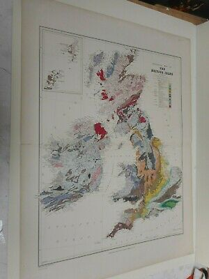 100% Original Large Geological England Wales Map By E Best C1890 Vgc