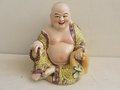 """ANTIQUE CHINESE BUDDHA PORCELAIN FAMILLE ROSE QING DYNASTY 1950s (8.5""""- 21.5 cm)"""