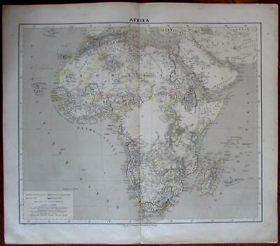 Africa Continent 1875 Fleming Nile source giant lakes hand color German map