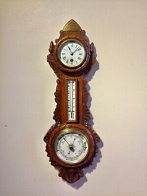 Antique Carved Oak Wall Clock With Barometer And Termometer.c1900