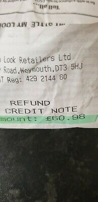 £60.98 new look credit note / voucher / gift card