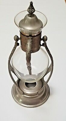 Vintage Silver Glass Coffee/Tea Pot With Warmer Stand Stand