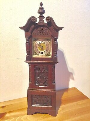 Antique Carved Oak Miniature Grandfather Clock By Lenzkirch C1885