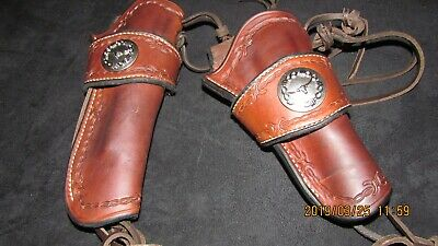 Western Strong Side And Matching Cross Draw Over The Belt Holster  1880's Set