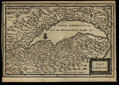 Lake Geneva France Switzerland c.1680-1710 old engraved map