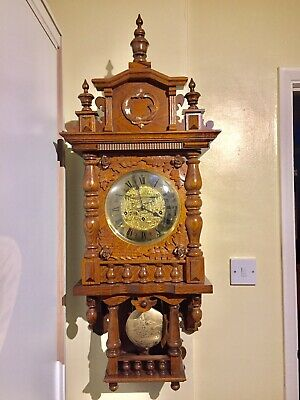 Rare Vintage Tripple Chime Carved Oak Wall Clock By Hermle.