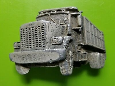Vintage 1982 Cut Out 3D Dump Truck Belt Buckle Great American Buckle #237 Pewter