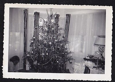 Vintage Antique Photograph Beautiful Christmas Tree in Retro Room