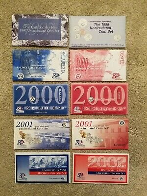 Lot of 10 U. S. Mint Uncirculated Coin Sets 1997 - 2006 in Original Envelopes