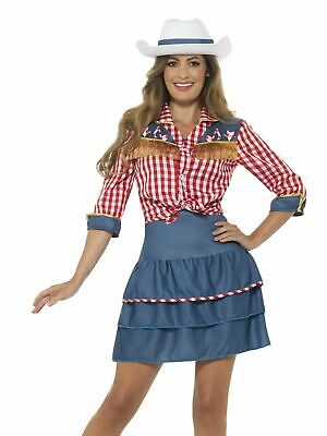 Cowgirl Cowboy Womens Costume Wild West Ladies Fancy Dress Outfit