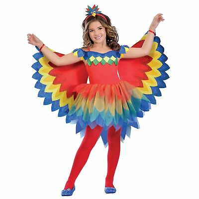 Girls Parrot Fairy Costume Kids Bird Fancy Dress Outfit Book Week Story dressup
