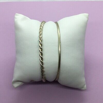 Pair of Two Sterling Silver Thin Textured Bangle Bracelets
