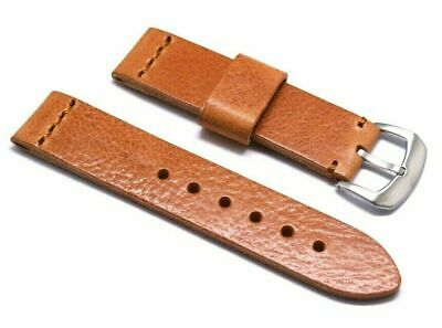 22mm Vintage Light Brown Genuine Leather Classic Style Watch Band Silver Buckle