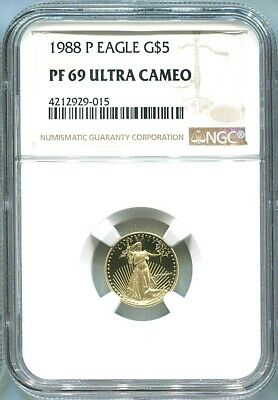 1988 1/10 oz Proof Gold American Eagle PF-69 NGC Ultra Cameo Coin G$5 Mint Slab