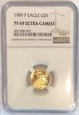 1989 1/10 oz Proof Gold American Eagle PF-69 NGC Ultra Cameo Coin G$5 Mint Slab