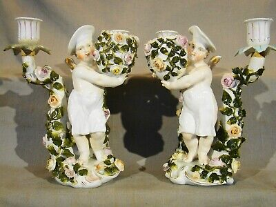 Antique Pair of Voigt Bros Sitzendorf Chef Putti 2 Light Candelabra 1850-1890