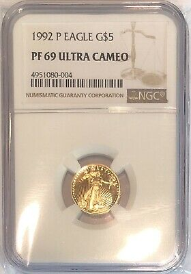 1992 1/10 oz Proof Gold American Eagle PF-69 NGC Ultra Cameo Coin G$5 Mint Slab