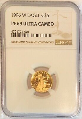 1996 W 1/10 oz Proof Gold American Eagle PF-69 NGC Ultra Cameo Coin G$5 WP Mint
