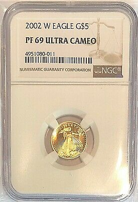 2002 W 1/10 oz Proof Gold American Eagle PF-69 NGC Ultra Cameo Coin G$5
