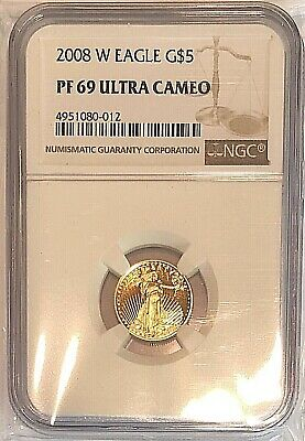 2008 West Point 1/10 oz Proof Gold American Eagle PF-69 NGC Ultra Cameo Coin $5
