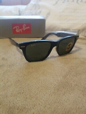 3cb15be7a872e Ray Ban Classic Wayfarer 2140 901 Black G15 Green New Sunglasses AUTHENTIC