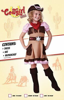 Girls Cowgirl Costume Kids Cowboy Wild West Fancy Dress Outift Book Week Story