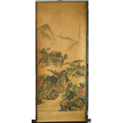 """61""""x26"""" old handicraft scroll painting landscape  long scroll AAA0035"""