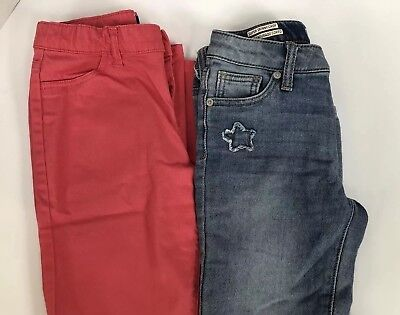 EUC Girls Size 12 Jeans Lot TCP Cherokee Skinny Salmom Pink / Stars