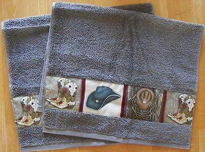 Western Set Of 2 Bath Hand/guest Towels,spanish Gray, Cowboy Boots And Hats