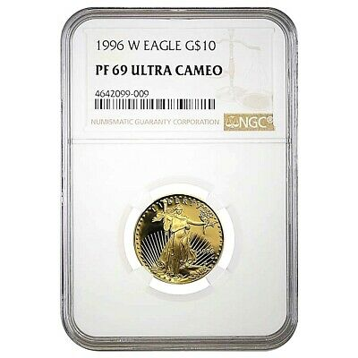 1996 W 1/4 oz Proof American Gold Eagle PF69 NGC $10 Coin Ultra Cameo West Point
