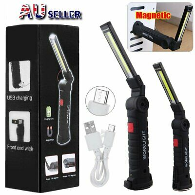 Magnetic Multifunction Rechargeable COB LED Work Light Lamp Foldable Flashlight