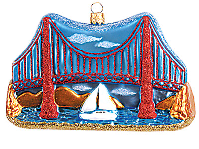 Golden Gate Bridge San Francisco California Glass Christmas Ornament 110123