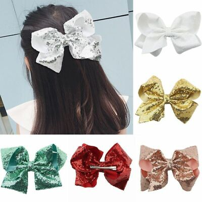 CN Bow For Girls 8 Inch Baby Hair Bows For Girls Big Large Sequin Boutique new