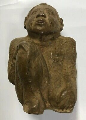 "Antique Clay Olmec Figurine Of A Crouching Man 3"" High"