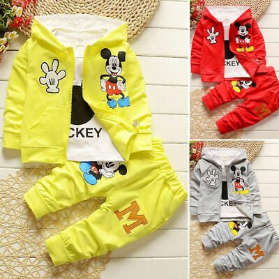 Kids 3pcs toddler clothes boys coat+T shirt +pants tracksuit outfits set cartoon