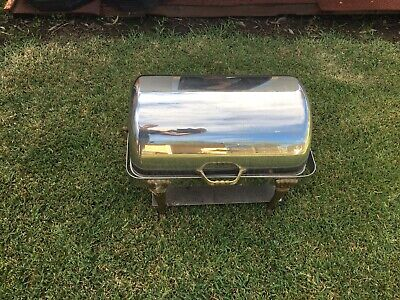 Stainless Steel Bain Marie Roll-Top Chafer Food Chafing Warmer Used