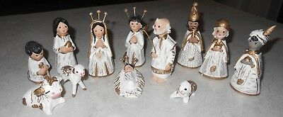 ANTIQUE CHRISTMAS NATIVITY scene -Plaster-Hand Painted